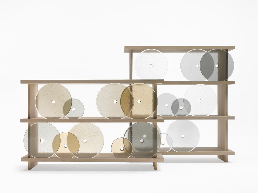 Rotating Glass Discs Shelves
